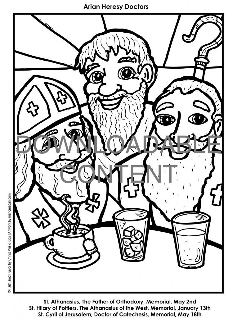 Faith and Flavor Lesson 1 Arian Heresy Doctors Coloring Page Printable